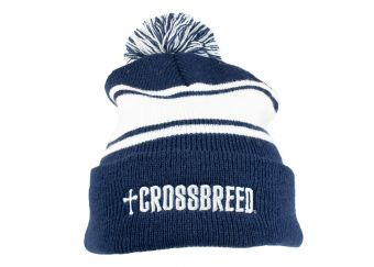 CrossBreed® Holsters Winter Beanie - Blue/White - Front