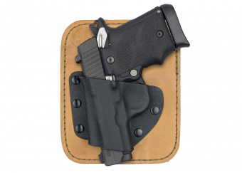 Pocket Rocket Concealed Carry Holster with Sig Sauer P238 - Cowhide with Rubber Backer Front