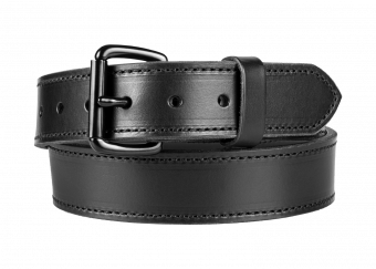 Classic Gun Belt with Black Cowhide - Black Stitching - Black Buckle