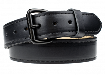 Quick Ship Classic Gun Belt - Black With Black Thread - Black Roller Buckle