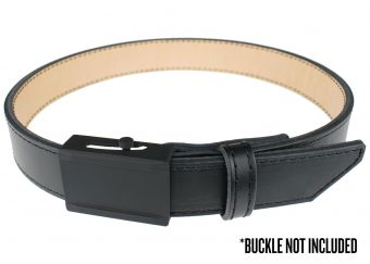 Crossover Gun Belt with Black Thread - Black Cowhide with No Buckle