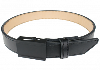 Crossover Gun Belt with Black Thread - Black Cowhide with Black Buckle