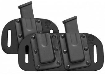 OWB Concealed Carry Magazine Carrier with Magazine - Black Cowhide