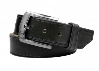 Executive Gun Belt with Black Thread - Black Cowhide with Gunmetal Gloss Buckle