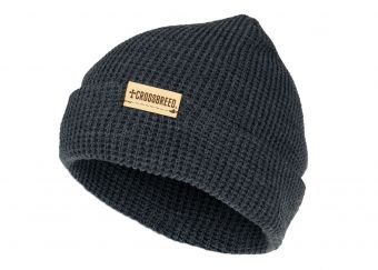 CrossBreed's Knit Beanie - Charcoal With Leather Logo Patch