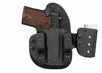 Sig P238 - Micro Reckoning System - IWB Or OWB Concealed Carry Holster with Attached Mag Carrier - Black Cowhide - Black Kydex