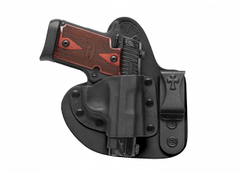 Mini Appendix Carry AIWB Concealed Carry Holster with Sig Sauer P938 - Black Cowhide