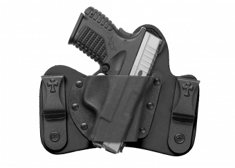 Minituck IWB Concealed Carry Holster with Springfield XDs - Black Cowhide