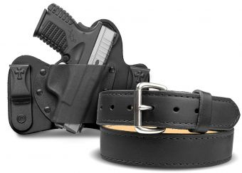 Quick Ship MiniTuck® Holster and Classic Gun Belt Bundle - Black Cowhide - Springfield Armory  XDs