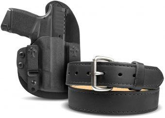 Reckoning IWB & OWB Black Cowhide Holster & Classic Gun Belt Bundle - Springfield Armory Hellcat