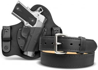 Quick Ship SuperTuck® IWB Black Cowhide Holster & Classic Gun Belt Bundle - 1911