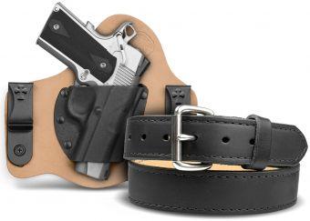 SuperTuck IWB  Gun Holster - Horsehide - 1911 - Classic Gun Belt - Black - Stainless Buckle