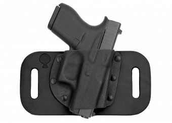 SnapSlide OWB Concealed Carry Holster with Glock 43 - Black Cowhide