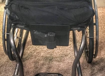 wheelchair mount, pac mount, concealed carry, open carry, wheelchair, mobility device, self-defense, wheelchair, disabilities, concealed carry, ashlee lundvall, carrying in wheelchair, crossbreed holsters, self-defense, handicapable, wheelchair carry,