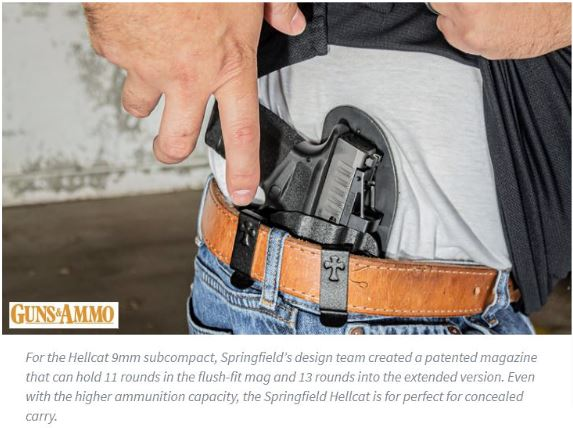 springfield hellcat, guns & ammo, gun review, hellcat, 9mm, springfield armory, concealed carry, the reckoning holster, iwb, holsters, hybrid holster, most comfortable holster, crossbreed holsters