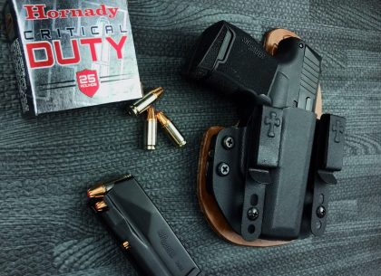 self-defense, ammunition, concealed carry, self-defense ammo, ammo, bullets, concealed carry ammo, ammunition, hornady critical duty, critical duty, self-defense, iwb, concealed, the reckoning holster, holsters, SIG, SIG P365, Sig Sauer