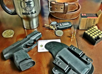 self-defense, ammunition, concealed carry, self-defense ammo, ammo, SIG, Sig Sauer, gun belt, bullets, concealed carry ammo, ammunition, reckoning holster, iwb, hornady ammunition, gunsite academy, nra-ila, wisconsin, concealed carry permit,