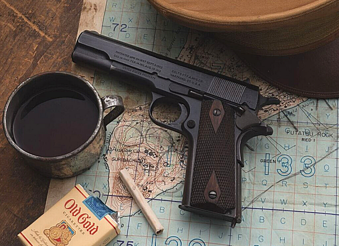 Iwo Jima, Rock Island Auction Company, 1911 Pistol, USMC Colt 1911, Colt 1911, CrossBreed Holsters, Sgt. Arthur Kiely, Marine Corps, M1911, 1911 holsters, concealed carry, hybrid holsters